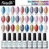 FairyGlo Diamond Range Bling Colors Gel Nail Polish Set 3pcs 1 Top Base Coat 7pcs lot Nail Art Tool Set Soak Off Lacquer UV Gel