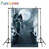 Funnytree backdrops for photography studio angel statue steps big moon night sky fariy tale professional background photobooth