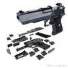 DIY Building Blocks Gun Toy Desert Eagle Assembly Toy Puzzle Brain Game Model Can Fire Bullets(Mung Bean) with Instruction Book