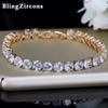 BlingZircons 6 Color Gold Color Round Cubic Zirconia Crystal Tennis Bracelets Bangles For Bridal Wedding Party Jewelry Gift B019