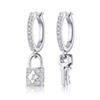 Women Famous Brand Dangle Earring with Stamps Lock Key Silver Earring Luxury Brand Designer Jewelry Top Quality