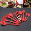 New Silicone Kitchen Utensils Set Not Sticky Pot Heat Resistant Spoon Shovel Ladle Spatula Cooking Set For Red And Black 10pcs Set HH7-1018