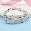 2018 Brand Pure 925 Sterling Silver bracelet For Women Panther Bangle Full Stone Leopard Bangle Wedding Big Chain Bracelet