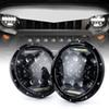 "7"" 75W Round Driving Led Headlights With White DRL Hi Lo Beam For Jeep Wrangler CJ-5 CJ-7 1997-2016 TJ LJ JK JKU Rubicon Sahara Chevy Blazer"