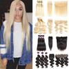 613 Blonde Human Hair Bundles With Frontal Brazilian Virgin Hair Straight Weave Bundles With Closures Accessories Body Wave Extensions Wefts