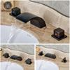 Deck Mounted Dual Handles Waterfall Mixers Faucet Bathroom Widespread Bath Spout Water Taps Oil Rubbed Bronze Finish