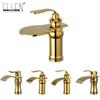 Luxury Waterfall Bathroom Basin Faucet Golden Single Handle Hot and Cold Water Tap