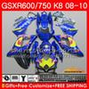 Bodys New blue red For SUZUKI GSXR 600 750 GSX R750 R600 GSXR600 08 09 10 9HC.75 GSX-R750 GSXR-600 K8 GSXR750 2008 2009 2010 Fairings kit