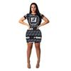 dress Europe and America Women's clothing fashion F letter printing dress Sexy Leisure Hip Short skirt new style