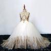 Sparkly Gold Lace 2019 Flower Girls Dresses For Wedding Vintage High Neck Hollow Back Sequins Beaded Rhinestones First Communion Dress