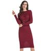 Womens Business Dresses Knit Dress Female Solid Color with Belt Long-sleeved Slim Fit Package Hip Pencil Dress M-xl