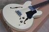 ES-335-hollow double f hole four string electric bass cream-colored piano body black guard rosewood