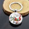 Christmas Keychain Santa Claus Deer Snowman Double Side Glass Cabochon Pendant Keychain Silver Keyring for Friends Christmas Gif
