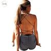 Sexy Jumpsuits Bodycon Lace Up Backless Women Cross Bandage Summer Romper Casual Body Suit Women Tops Overalls