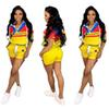 Champions Women Two Piece Outfits Hooded Print Tracksuit Short Sleeve Zipper Top Pocket Hot Pant Set Sports Suits Pink Green Yellow