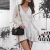 Sexy V Neck Mini Short homecoming dresses A Line 2019 Poet Long Sleeve With String Belt Women Street Informal Holiday Gowns 2568