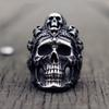 Cool Santa Muerte Death Skull Ring Unique Mens Stainless Steel Rings Punk Rock Biker Jewelry Gift for Him