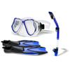 Snorkel Gear Set Snorkel Tube Fin Tempered Diving Mask for Adult Pair of Swimming Fins Diving Glass Tube Silicone