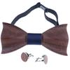 1set Wooden Tie Pocket Square Cufflink Wood Bow Tie Wedding Fashion Wooden Bow Ties Set Men Accessories
