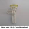 14mm Male H Estilo embudo de vidrio Cuenco