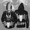 Venom 3D Print Cosplay Costume Hoodies Men Hooded Jacket With Zipper Superhero Comfortable