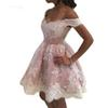 Abendkleider Off the Shoulder Mini Homecoming Dresses Lace Appliqued Empire Short Cocktail Party Dress Pink Prom Gowns