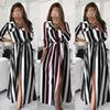 Women's Lapel Pocket Color Stitching Striped Shirt Dress Trend Fashion Casual Dress High Waist Party Dating