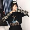 Women T-Shirts Letter Cartoon Print Leopard Sleeve T-shirt Female Sweet Harajuku Style Vintage Lovely Loose Tee