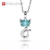 1.5ct 6X8mm Oval 18K White Gold Plated 925 Silver Moissanite Cat Necklace Diamond Test Passed Jewelry Woman Girl Gift