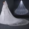 3 Meters White Ivory Cathedral Wedding Veils Long Lace Edge Bridal Veil with Comb Wedding Accessories Bride Veu Wedding Veil