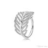 925 Sterling Silver Feather Wedding RING LOGO Original Box for Pandora Engagement Jewelry CZ Diamond Crystal Rings for Women Girls
