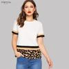 Multicolor Color Block Leopard Print Women Tee Women Slim Fit T-Shirt Stretchy Round Neck Spring Solid Summer Tshirts Top