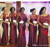 2019 Summer Spring Bridesmaid Dress Burgundy African Nigerian Country Garden Wedding Party Guest Maid of Honor Gown Plus Size Custom Made