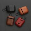 High Quality Genuine Leather Headset Case Bag Cover with Hook Keychain for Apple AirPods Charging Housing