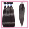 Peruvian Human Hair 3 Bundles With 2X6 Lace Closure Straight Virgin Hair Extensions 8-28inch Straight Bundles With 2 By 6 Closure
