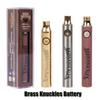 Brass Knuckles Battery 650mAh Good 900mAh Wood SS Vape Pen Preheat VV Variable Voltage Battery For 510 Kingpen Thick Oil Cartridge Tank
