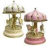 2 Colors Handmade Music Carrousel Box Merry-Go-Round with Horse's Castle Craft Music Box Christmas Gifts for Kids