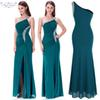Angel-fashions Women's One Shoulder Ruching Beading Ribbon Long Dress Formal Dress Evening Dress Prom Dresses 411