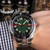 cadran vert (bracelet en acier)