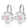 2018 New Arrival Graceful 1Pair Pink Sweet Ear Clip Flower Crystal Cherry Blossom No Hole Purple Without Piercing Korea Style