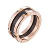 Meicialanda Stainless steel rose gold black and white ceramic couple ring Japanese and Korean popular simple women jewelry