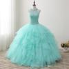 Mint Green Beaded Quinceanera Dresses 2019 New Real Images Crew Neck Tulle Ruffles Sweet 16 Dresses Princess Dress Custom Made SQ001