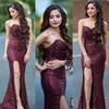 Shiny Glitz Burgundy Sequins Split Prom Evening Dresses 2019 Sheath Trumpet Sweetheart Backless Long Red Carpet Dress Bridesmaids Gowns