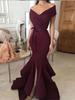 Elegant Burgundy Long Mermaid Prom Dresses 2019 Little Split Ruffles Evening Gowns V-neck Off The Shoulder Formal Party Dress