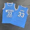 Larry Bird College Jersey ISU Indiana State Jerseys NCAA Basketball Jerseys Home Baby Blue size S-3XL