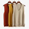 2019 New Solid Long Vests For Women V-neck Kintted Waistcoat Female Long Sleeveless Pullover Spring Loose Korean Sweater Coat