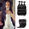 Cheap 8A Brazilian Virgin Hair Extensions Straight With 4x4 Lace Closure Peruvian Human Hair Bundles With Closure Wefts Wholesale 3 4Bundles