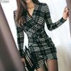 Tuhao Elegant Vintage Plaid Dresses 2019 Spring Women Long Sleeve Bodycon Office Lady Business Work Dress Pencil Dress Yh129 Q190402
