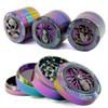 Newest Zinc Alloy Rainbow Grinder 4 Layers Iceblue Herb Grinder 52mm Diameter Grinders Skull Frog Spider Shape Herb Grinders Tobacco Crusher