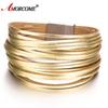 Amorcome Alloy Gold Silver Leather Wrap Bracelets 20 Strip Multi-Row Bangles For Women Multilayer Wide Female Jewelry